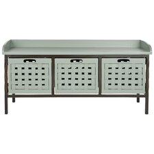 Isaac Wooden Storage Entryway Bench in Medium Grey
