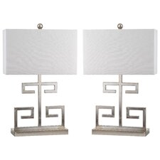 "Greek Key 24"" H Table Lamp with Drum Shade (Set of 2)"