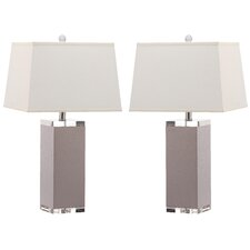 "Deco Leather 25.5"" H Table Lamp with Rectangular Shade (Set of 2)"