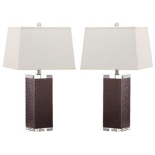 "Deco 25.5"" H Leather Table Lamp (Set of 2)"