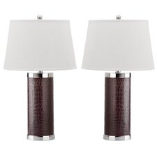 "26"" H Leather Column Table Lamp (Set of 2)"