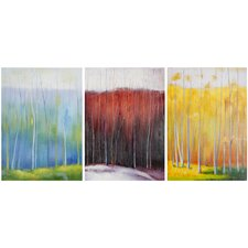 Forest Rainbow 3 Piece Painting Print on Canvas Set