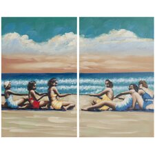 Swim Competition 2 Piece Painting Print on Canvas Set