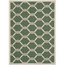 Courtyard Dark Green / Beige Geometric Contemporary Rug