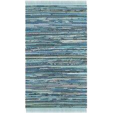 Rag Blue Striped Contemporary Rug