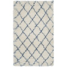 Moroccan Shag Ivory & Blue Geometric Contemporary Rug