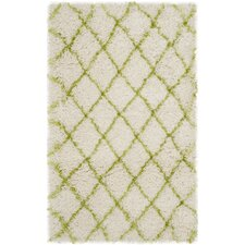 Moroccan Shag Ivory / Green Geometric Contemporary Rug