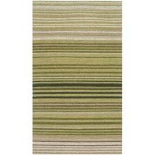 Marbella Green Striped Contemporary Area Rug