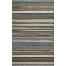 Kilim Blue Striped Contemporary Rug
