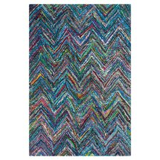 Nantucket Blue Chevron Outdoor Area Rug