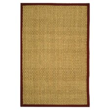 Natural Fiber Natural/Red Area Rug