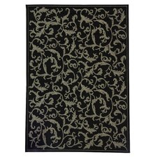 Courtyard All Over Ivy Black Rug