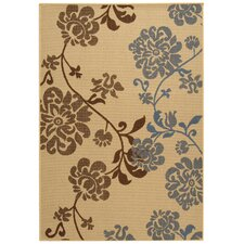 Courtyard Natural Brown/Blue Outdoor Rug