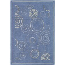 Courtyard Circle Blue & Natural Area Rug