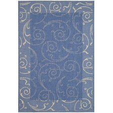 Courtyard Blue & Natural Outdoor Area Rug