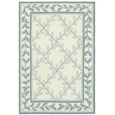 DuraRug Ivory/Light Blue Area Rug