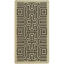 Courtyard Sand / Black Outdoor Area Rug