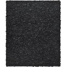 Leather Shag Black Rug I