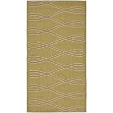 Courtyard Green/Crème Wave Outdoor Rug