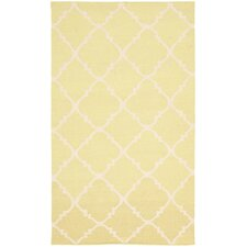 Dhurries Green/Ivory Checked Area Rug