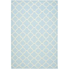 Dhurries Light Blue/Ivory Checked Rug