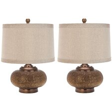 "Aubrey Beaded 19"" H Table Lamp with Drum Shade (Set of 2)"