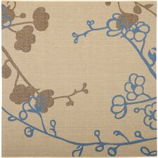 Courtyard Natural Brown / Blue Outdoor Rug