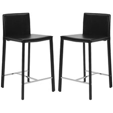 "<strong>Safavieh</strong> Dustin 24"" Bar Stool with Cushion (Set of 2)"