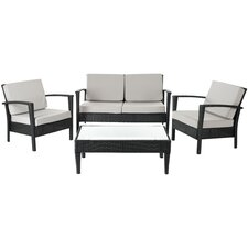 Watson 4 Piece Seating Group in Black with Cushions