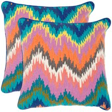 Dripping Stiches Neon Cotton Decorative Pillow (Set of 2)