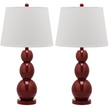 Jayne Three Sphere Table Lamp with Drum Shade (Set of 2)