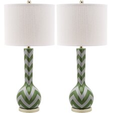 "Chevron Long Neck 30.5"" H Table Lamp with Drum Shade (Set of 2)"