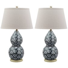 Cross-Hatch 1 Light Double Gourd Table Lamp (Set of 2)