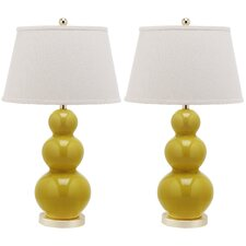 """Pamela Triple Gourd 30"""" H Table Lamp with Empire Shade (Set of 2)"""