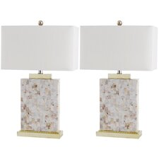 <strong>Safavieh</strong> Tory 1 Light Shell Table Lamp (Set of 2)