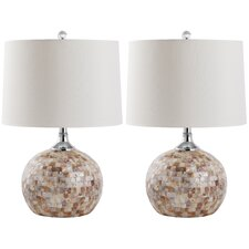 <strong>Safavieh</strong> Nikki 1 Light Shell Table Lamp (Set of 2)