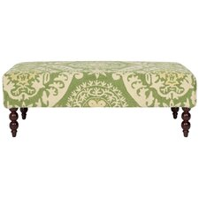 Damask Upholstered Medallion Ottoman