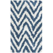 Shag Ivory/Blue Outdoor Area Rug