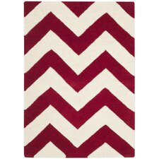 Chatham Red / Ivory Chevron Area Rug