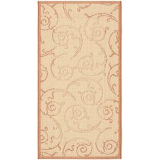 <strong>Safavieh</strong> Courtyard Natural/Terra Swirl Rug