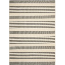 Courtyard Striped Grey Rug