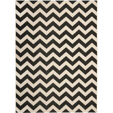 Courtyard Black & Beige Outdoor/Indoor Area Rug