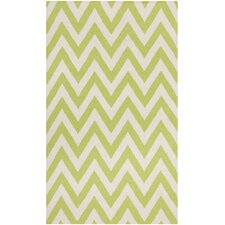 Dhurries Green/Ivory Outdoor Area Rug
