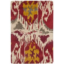 Ikat Ivory/Red Area Rug