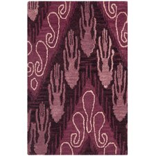 Ikat Dark Brown and Purple Rug