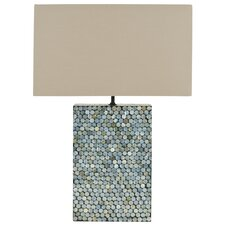 """Cassandra Mother of Pearl 16.5"""" H Table Lamp with Rectangular Shade"""