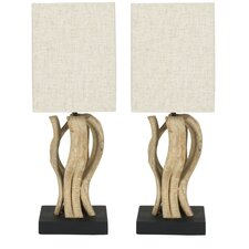 "Evangeline Vine Mini 19.7"" H Table Lamp with Square Shade (Set of 2)"