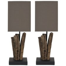 """Arcadia Branch 19.7"""" H Table Lamp with Square Shade (Set of 2)"""