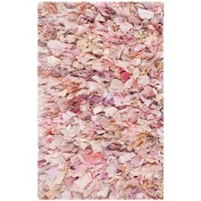 Ivory / Pink Shag Rug