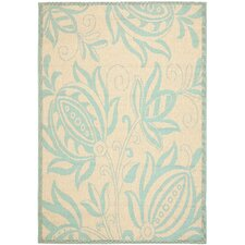 Courtyard Cream/Aqua Outdoor Novelty Rug